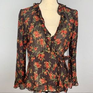 Jones New York Sport brown floral wrap blouse sz 6